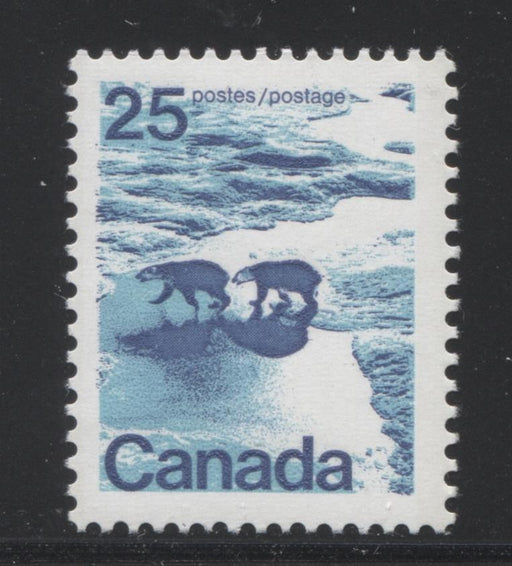 Canada #597vi (SG#705) 25c Polar Bears 1972-1978 Caricature Issue, Type 1, 3 mm GT-2 OP-2 Tagging Smooth LF Paper/Ink Type 8 VF-75 NH Brixton Chrome