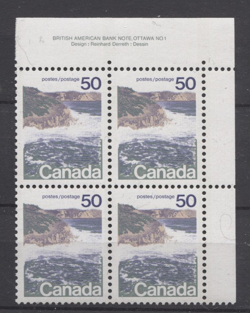 Canada #598 (SG#706) 50c Seashore 1972-1978 Caricature Issue, Type 1, GT-2 Migrated OP-4 Tagging, Ribbed Paper Plate 1 UR VF-80 NH Brixton Chrome
