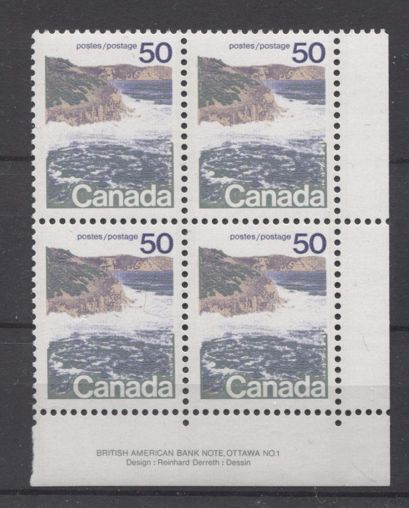 Canada #598 (SG#706) 50c Seashore 1972-1978 Caricature Issue Type 1, GT-2 OP-4 Tagging, Ribbed Paper Type 3 Plate 1 LR VF-75 NH Brixton Chrome