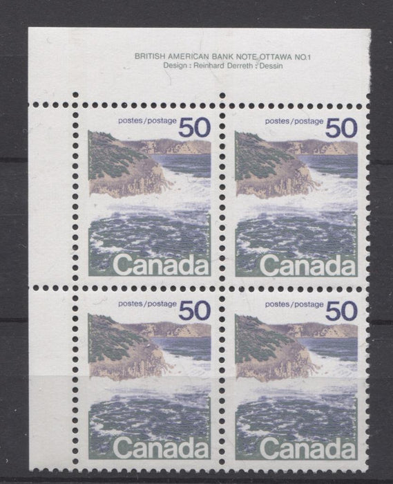 Canada #598 (SG#706) 50c Seashore 1972-1978 Caricature Issue Type 1, GT-2 OP-4 Tagging, Ribbed Paper Type 6 Plate 1 UL VF-80 NH Brixton Chrome