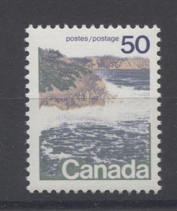Canada #598 (SG#706) 50c Seashore 1972-1978 Caricature Issue Type 1, GT-2 OP-4 Tagging, Ribbed Paper Type 9 VF-75 NH Brixton Chrome