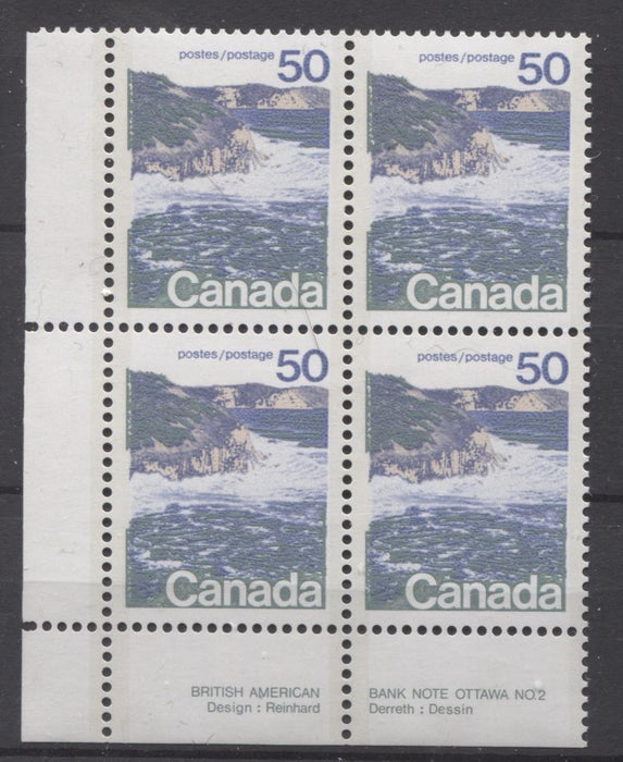 Canada #598a (SG#706a) 50c Seashore 1972-1978 Caricature Issue Type 2, Perf. 13.3, DF Paper Type 6 Plate 2 LL VF-84 NH Brixton Chrome