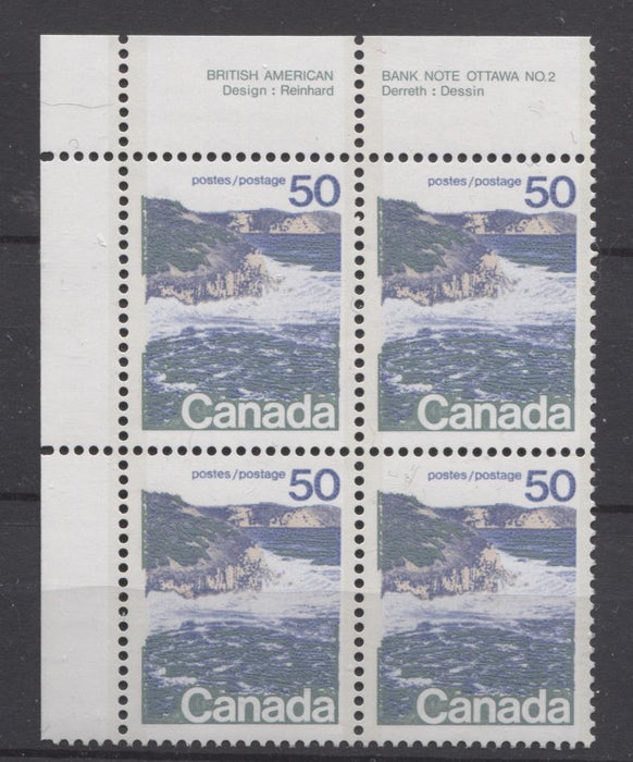 Canada #598a (SG#706a) 50c Seashore 1972-1978 Caricature Issue Type 2, Perf. 13.3, DF Paper Type 6 Plate 2 UL VF-80 NH Brixton Chrome