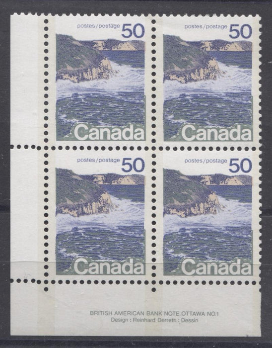 Canada #598iii (SG#706a) 50c Seashore 1972-1978 Caricature Issue Type 2, Perf. 12.5 x 12, Smooth Paper Type 1 Plate 1 LL VF-80 NH Brixton Chrome