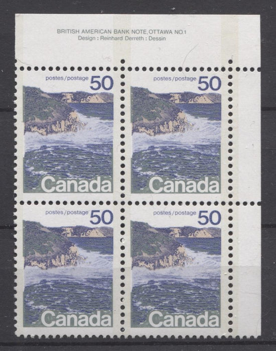 Canada #598iii (SG#706a) 50c Seashore 1972-1978 Caricature Issue Type 2, Perf. 12.5 x 12, Smooth Paper Type 1 Plate 1 UR VF-75 NH Brixton Chrome