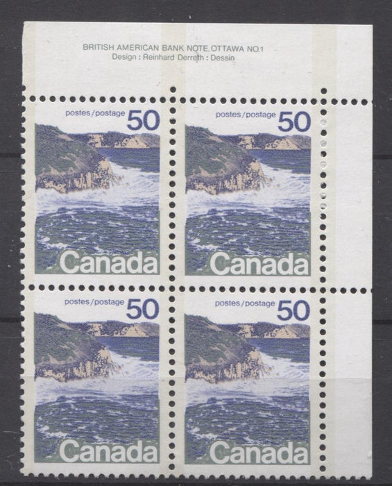 Canada #598iii (SG#706a) 50c Seashore 1972-1978 Caricature Issue Type 2, Perf. 12.5 x 12, Smooth Paper Type 2 Plate 1 UR VF-80 NH Brixton Chrome