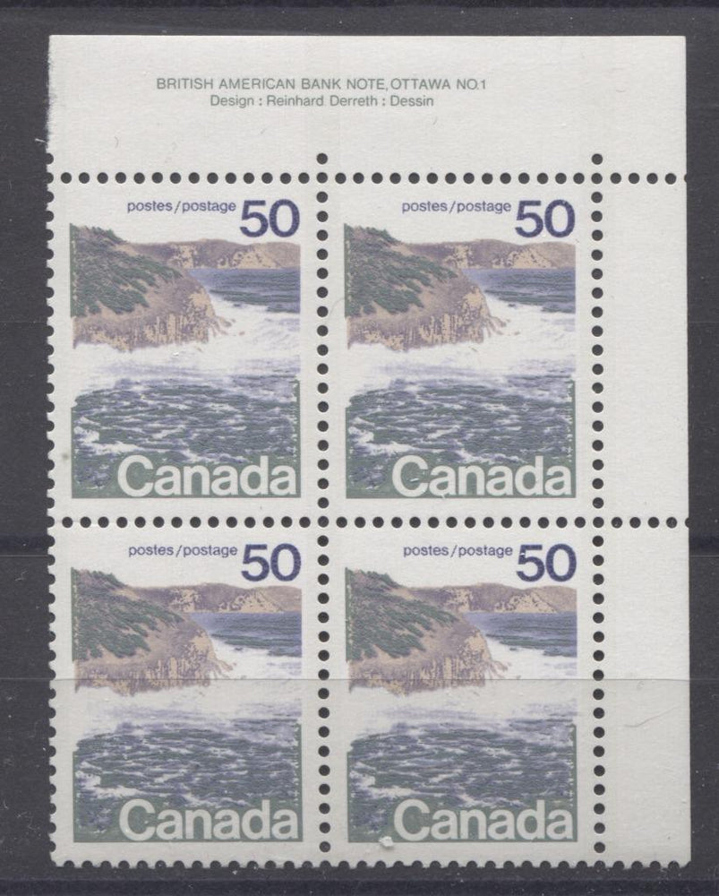Canada #598v (SG#706) 50c Seashore 1972-1978 Caricature Issue Type 1, 3 mm GT-2 OP-2 Tagging, Ribbed Paper Type 4 Plate 1 UR VF-84 NH Brixton Chrome
