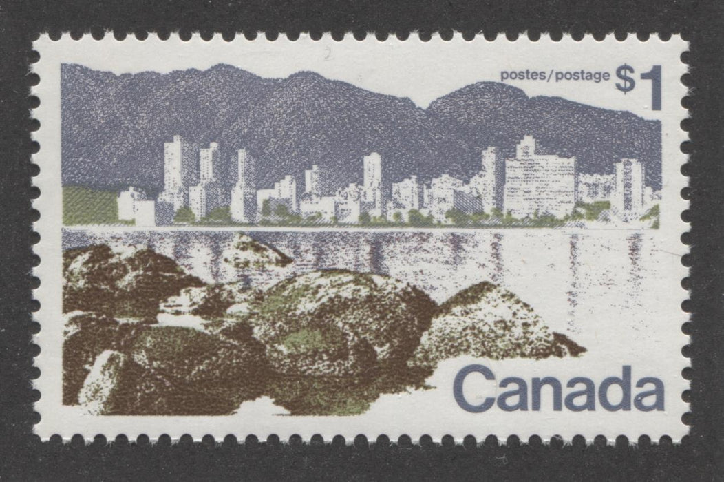 Canada #599i (SG#709b) $1 Vancouver 1972-1978 Caricature Issue Perf. 12.5 x 12 HB Paper Type 1 VF-80 NH Brixton Chrome