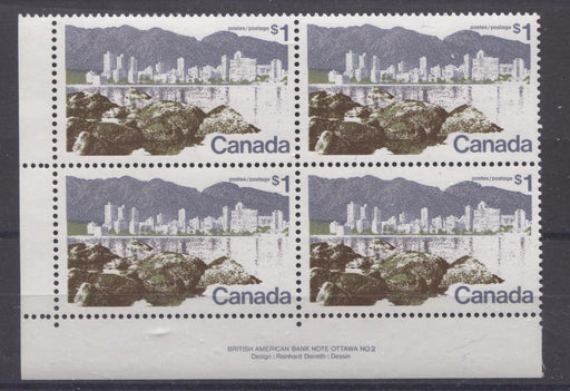 Canada #599iii (SG#709) $1 Vancouver 1972-1978 Caricature Issue Perf. 12.5 x 12 LF Paper Type 1 LL VF-80 NH Brixton Chrome