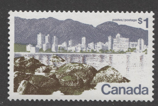 Canada #599iii (SG#709) $1 Vancouver 1972-1978 Caricature Issue Perf. 12.5 x 12 LF Paper Type 5 VF-84 NH Brixton Chrome