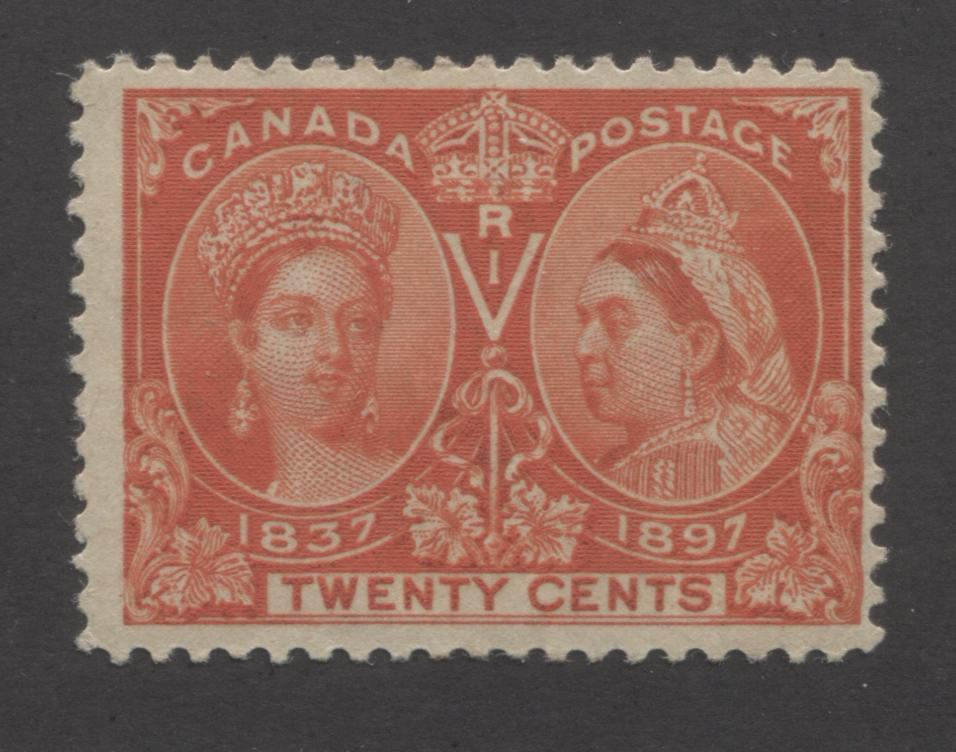 Canada #59i 20c Deep Vermilion Queen Victoria, 1897 Diamond Jubilee Issue, Fine Mint OG Single Brixton Chrome