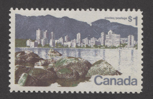 Canada #600 (SG#707) $1 Vancouver 1972-1978 Caricature Issue Paper Type 12 VF-84 NH Brixton Chrome