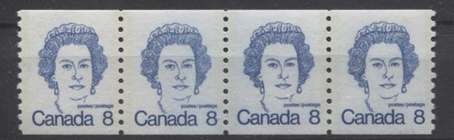 Canada #604 (SG#710) 8c Royal Blue Queen Elizabeth II 1972-1978 Caricature Issue Coil Jump Strip LF Paper With Ghost Tag on Back VF-75 NH Brixton Chrome