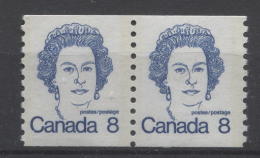 Canada #604 (SG#710) 8c Royal Blue Queen Elizabeth II 1972-1978 Caricature Issue Coil Pair LF Paper Ghost Tag Bar On Back F-70 NH Brixton Chrome