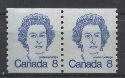 Canada #604 (SG#710) 8c Royal Blue Queen Elizabeth II 1972-1978 Caricature Issue Coil Pair LF Paper Ghost Tag Bar On Back VF-75 NH Brixton Chrome