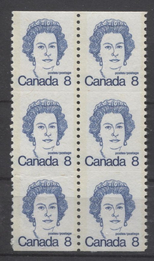 Canada #604 (SG#710) 8c Royal Blue Queen Elizabeth II 1972-1978 Caricature Issue Coil Unservered Block LF Paper Type 1 VF-75 NH Brixton Chrome