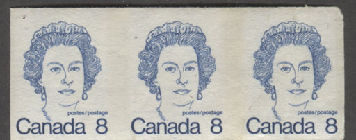 Canada #604a (SG#710) 8c Royal Blue Queen Elizabeth II 1972-1978 Caricature Issue Coil Imperforate Pair, Low Fluorescent Paper Brixton Chrome