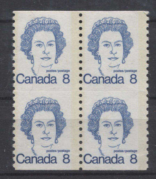 Canada #604ix (SG#710) 8c Royal Blue Queen Elizabeth II 1972-1978 Caricature Issue Coil Unservered Block MF Paper Type 2 F-65 NH Brixton Chrome