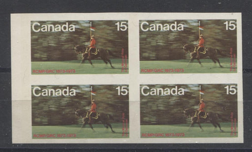 Canada #614a (SG#753var) 15c RCMP Musical Ride 1973 RCMP Centenary Issue Imperf. Block of 4 MF/MF-fl, HB Paper VF-80 NH Brixton Chrome