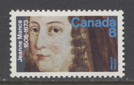 Canada #615 (SG#754) 1973 8c Jeanne Mance Death Tercentenary Issue LF/MF-fl, HB-VF Paper VF-84 NH Brixton Chrome