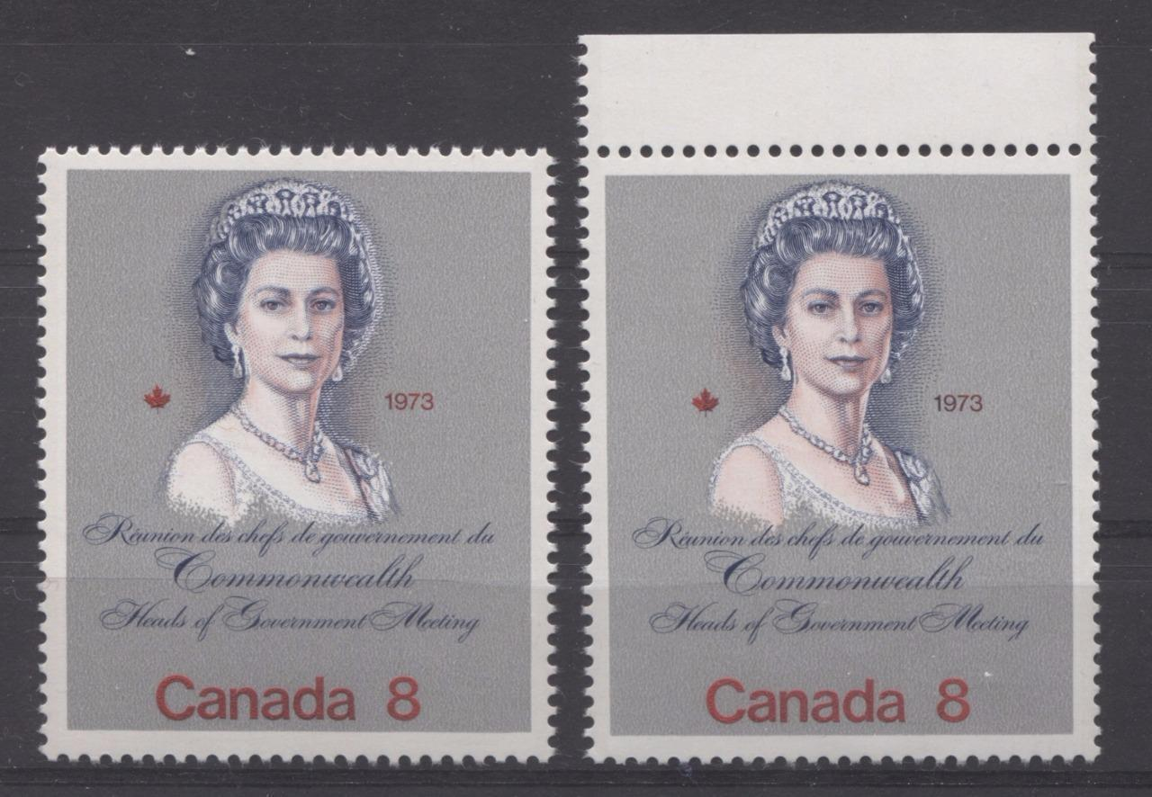 "Canada #620 (SG#759) 8c Multicoloured Queen Elizabeth II 1973 Royal Visit Issue ""DF"" Paper Type 1 Pale and Normal Queen VF-75 NH Brixton Chrome"