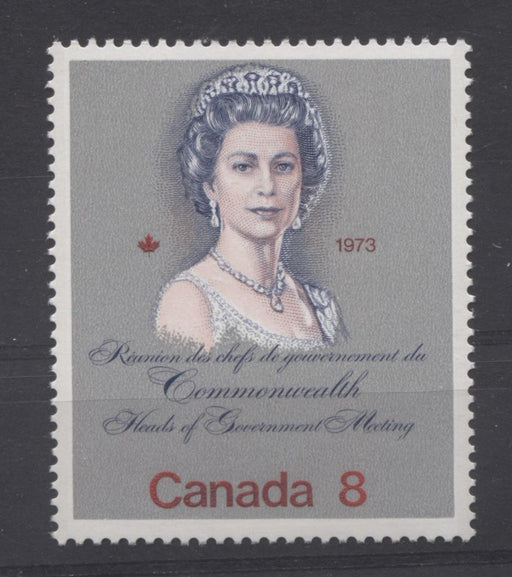 "Canada #620 (SG#759) 8c Multicoloured Queen Elizabeth II 1973 Royal Visit Issue ""DF"" Paper Type 2 VF-80 NH Brixton Chrome"