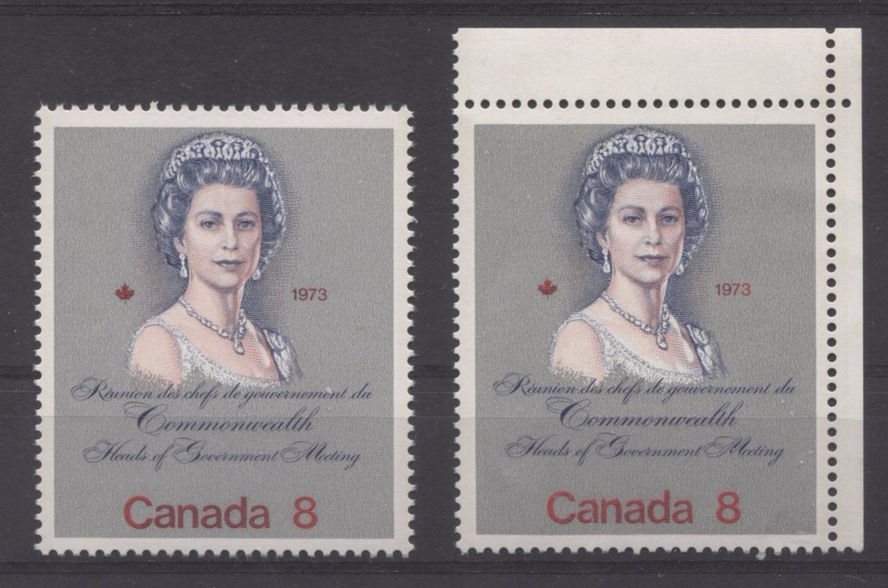 Canada #620,620ii (SG#759) 8c Multicoloured Queen Elizabeth II 1973 Royal Visit Issue Two Different DF and F Papers VF-75 NH Brixton Chrome