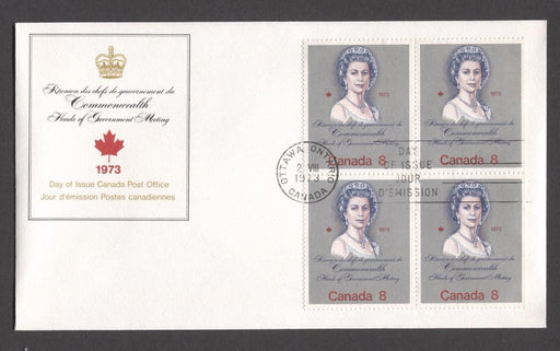 "Canada #620i (SG#759a) 8c Multicoloured Queen Elizabeth II 1973 Royal Visit Issue ""HB"" Paper Block of 4 on FDC SUP-98 Brixton Chrome"