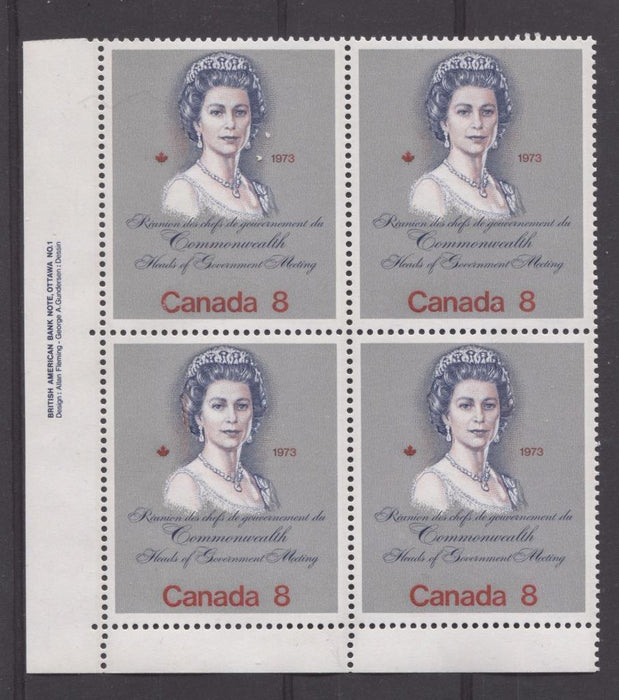 "Canada #620i (SG#759a) 8c Multicoloured Queen Elizabeth II 1973 Royal Visit Issue ""Hibrite"" Paper Type 1 LL Damaged ""C"" Variety VF-75 NH Brixton Chrome"