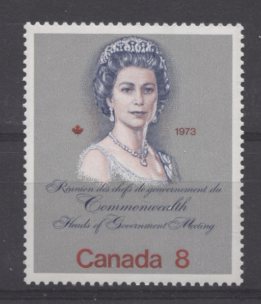"Canada #620i (SG#759a) 8c Multicoloured Queen Elizabeth II 1973 Royal Visit Issue Scarce ""Hibrite"" Paper Type 1 VF-84 NH Brixton Chrome"