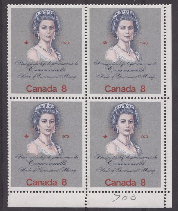 "Canada #620ii (SG#759) 8c Multicoloured Queen Elizabeth II 1973 Royal Visit Issue ""F"" Paper Type 9 LR Block VF-80 NH Brixton Chrome"