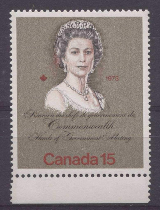 "Canada #621iii (SG#760) 15c Multicoloured Queen Elizabeth II 1973 Royal Visit Issue""MF"" Paper Type 2 ""Flaming Hair"" Variety VF-75 NH Brixton Chrome"