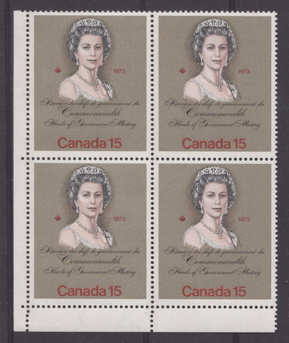 "Canada #621iii (SG#760) 15c Multicoloured Queen Elizabeth II 1973 Royal Visit Issue""MF"" Paper Type 2 LL Blank Block VF-75 NH Brixton Chrome"