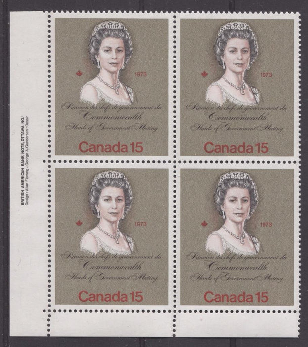 "Canada #621iii (SG#760) 15c Multicoloured Queen Elizabeth II 1973 Royal Visit Issue""MF"" Paper Type 2 LL Plate Block VF-84 NH Brixton Chrome"