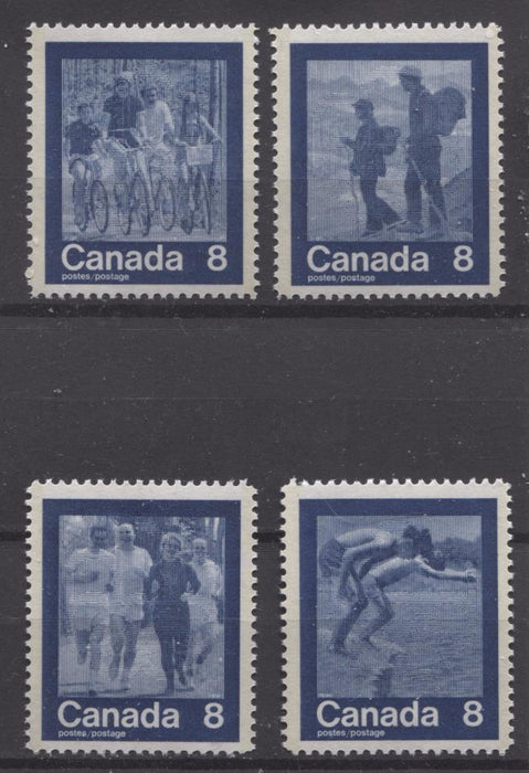 Canada #629-632 (SG#768-771) 8c Dark Blue 1974 Summer Sports Issue Complete Set Paper/Tag Type 3 VF-75 NH Brixton Chrome