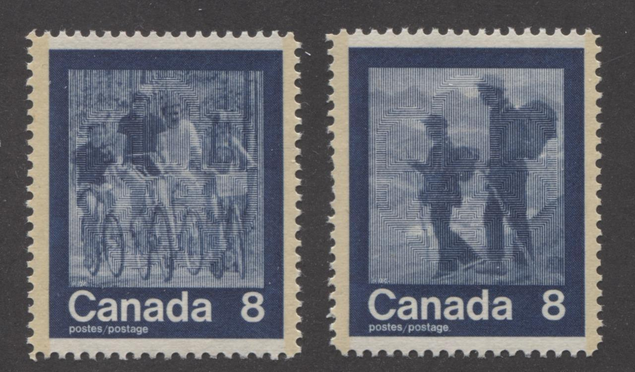 "Canada #631-632 (SG#770-771) 8c Dark Blue 1974 Summer Sports Issue ""Cycling & Hiking"" Paper/Tag Type 5 VF-75 NH Brixton Chrome"