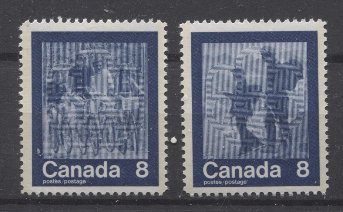 "Canada #631i-632i (SG#770-771) 8c Dark Blue 1974 Summer Sports Issue ""Cycling & Hike"" Paper/Tag Type 2 VF-75 NH Brixton Chrome"