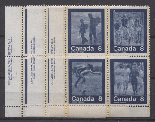 Canada #632a (SG#768a) 1974 Summer Sports Issue Block of 4 Paper/Tag Type 1 Plate 1 LR VF-80 NH Brixton Chrome