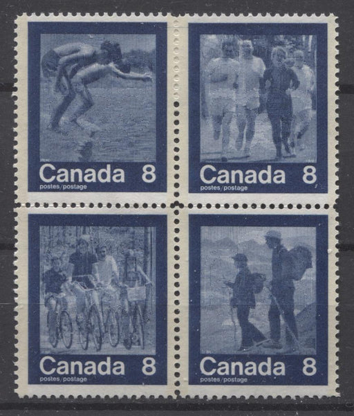 "Canada #632a (SG#768a) 1974 Summer Sports Issue Block of 4 Paper/Tag Type 2 ""Hairline"" VF-75 NH Brixton Chrome"