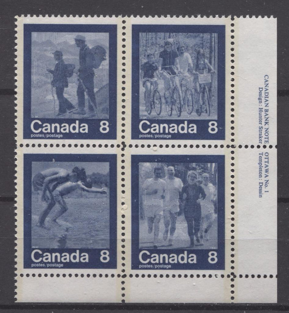Canada #632a (SG#768a) 1974 Summer Sports Issue Block of 4 Paper/Tag Type 2 Plate 1 LR VF-80 NH Brixton Chrome