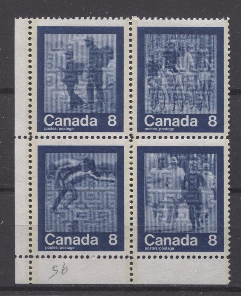 Canada #632a (SG#768a) 1974 Summer Sports Issue Block of 4 Paper/Tag Type 3 Blank LL F-70 NH Brixton Chrome