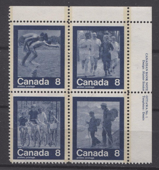 Canada #632a (SG#768a) 1974 Summer Sports Issue Block of 4 Paper/Tag Type 3 Plate 1 UR VF-80 NH Brixton Chrome