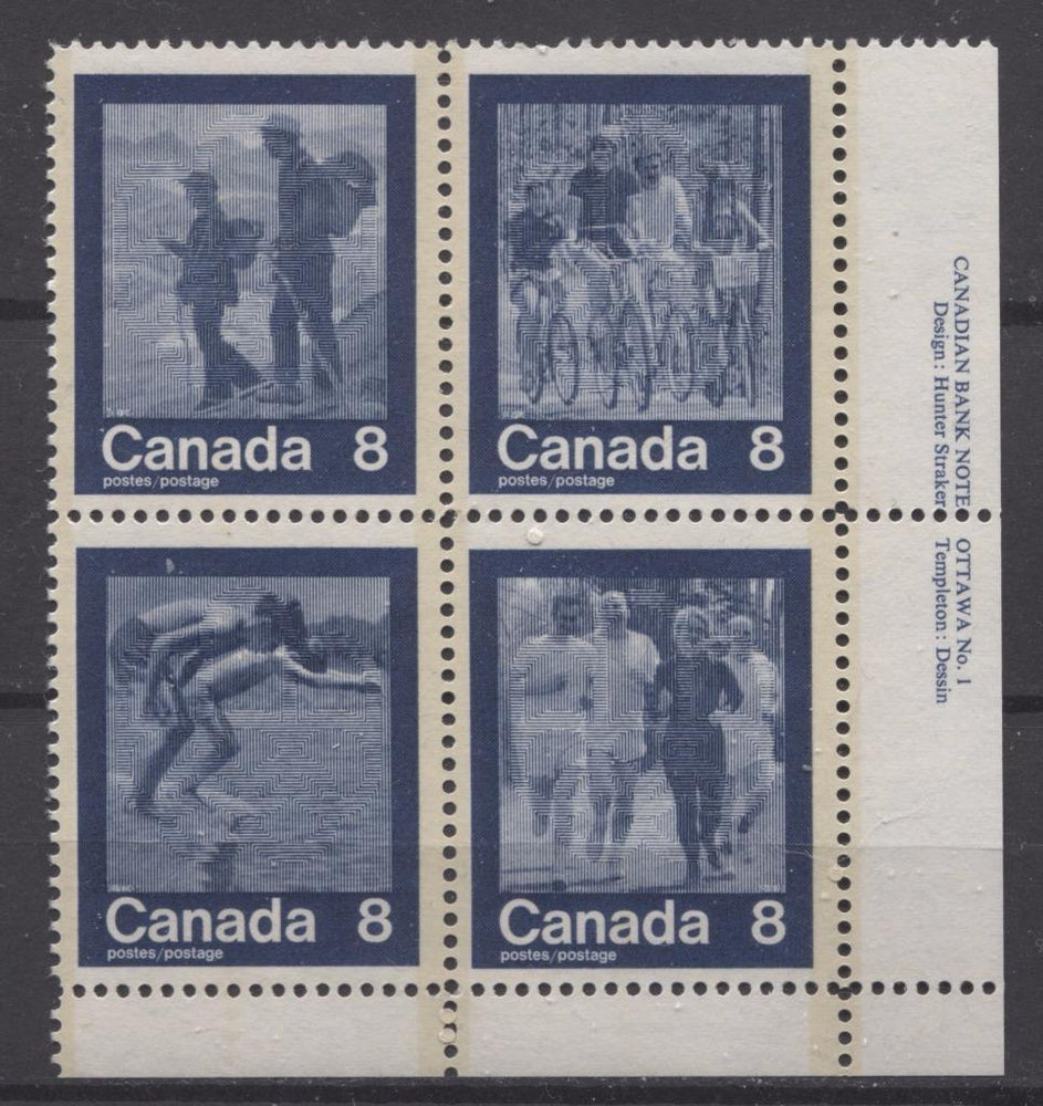 Canada #632a (SG#768a) 1974 Summer Sports Issue Block of 4 Paper/Tag Type 4 Plate 1 LR VF-75 NH Brixton Chrome