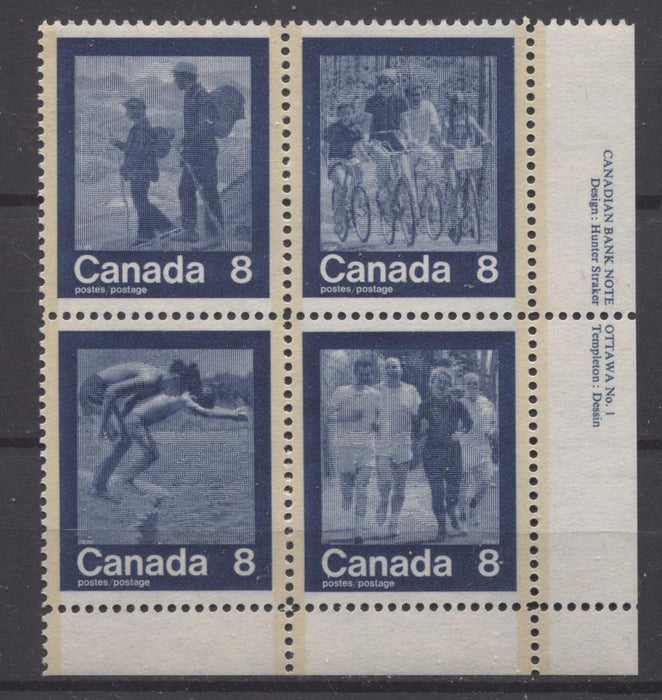 Canada #632a (SG#768a) 1974 Summer Sports Issue Block of 4 Paper/Tag Type 4 Plate 1 LR VF-80 NH Brixton Chrome