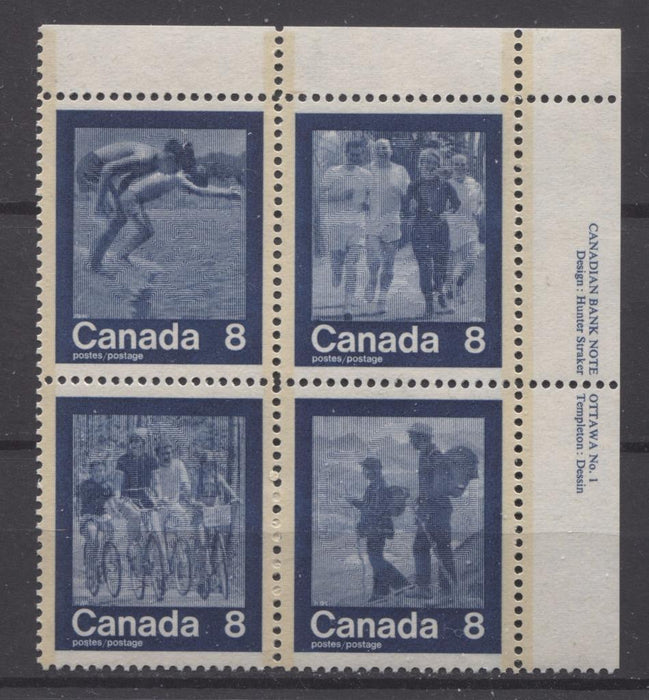 Canada #632a (SG#768a) 1974 Summer Sports Issue Block of 4 Paper/Tag Type 5 Plate 1 UR VF-80 NH Brixton Chrome