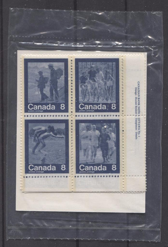 Canada #632a (SG#768a) 1974 Summer Sports Issue Pack of Plate Blocks Paper/Tag Type 1 VF-84 NH Brixton Chrome