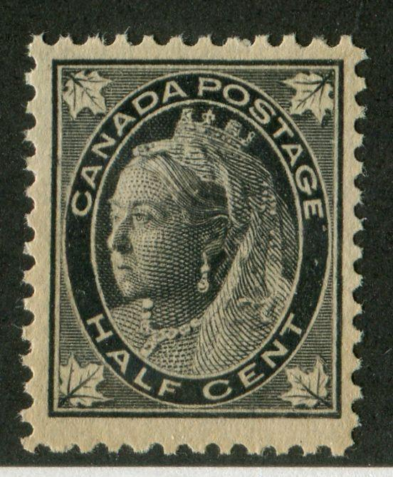 Canada #66 (SG#142) 1/2c Black 1897-1898 Maple Leaf Issue on White Vertical Wove VF-75 NH Brixton Chrome