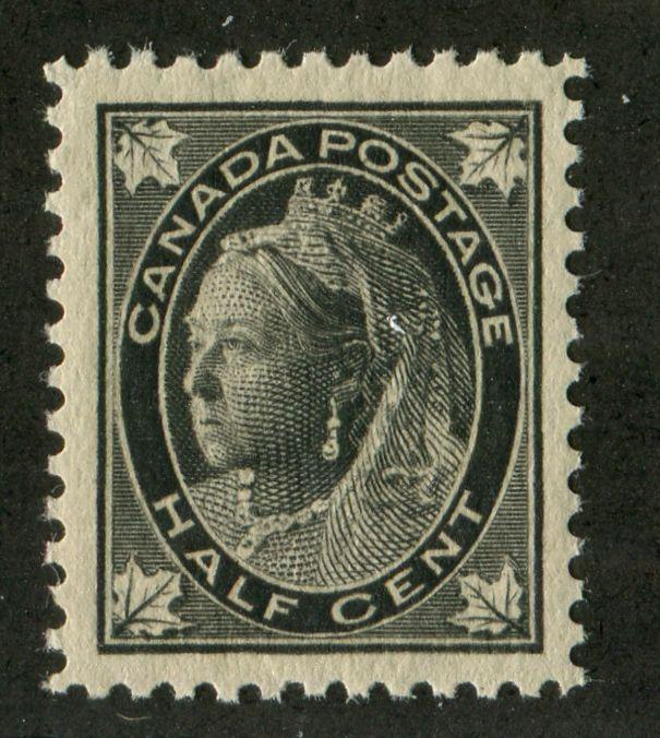 Canada #66 (SG#142) Half Cent Black 1897-1898 Maple Leaf Issue Thick Paper Re-Entry VF-80 NH Brixton Chrome