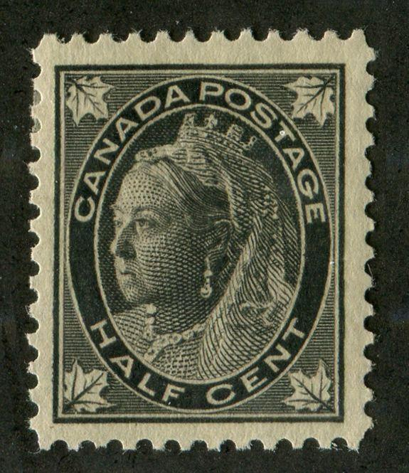 Canada #66 (SG#142) Half Cent Black 1897-1898 Maple Leaf Issue Thick Paper VF-75 OG Brixton Chrome