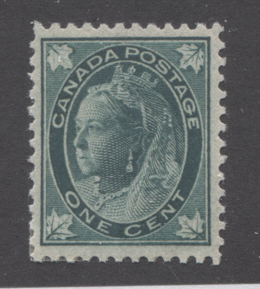Canada #67 1c Blue Green Queen Victoria 1897-1898 Maple Leaf Issue, A Very Fine OG Example on Vertical Wove Paper Brixton Chrome